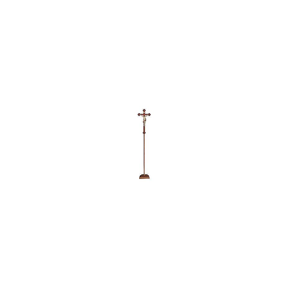 Croce astile con base Leonardo croce barocca oro  brunita 3 colori 4