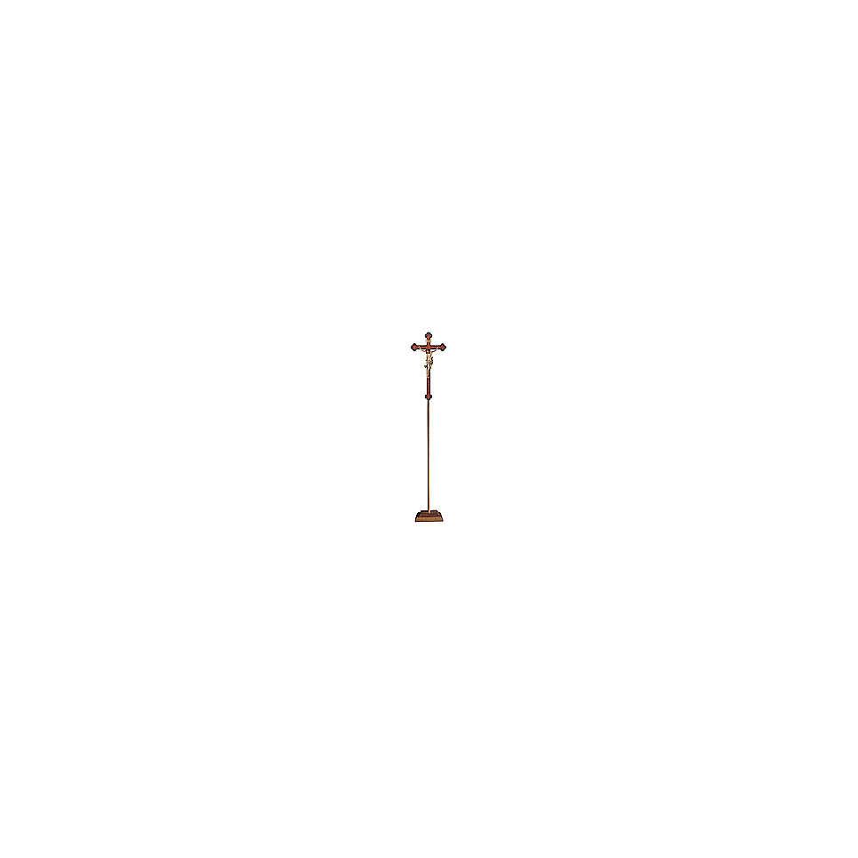 Croce astile con base Leonardo colorata croce barocca oro   4