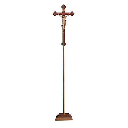 Croce astile con base Leonardo colorata croce barocca oro   1