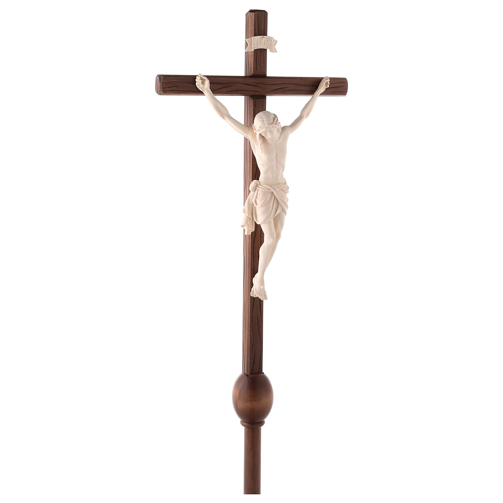 Cruz Cristo Siena de procesión con base madera natural 4