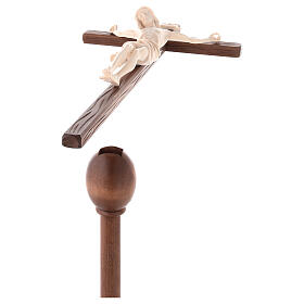 Cruz Cristo Siena de procesión con base madera natural s4