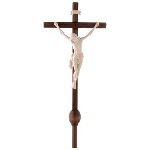 Cruz Cristo Siena de procesión con base madera natural 1