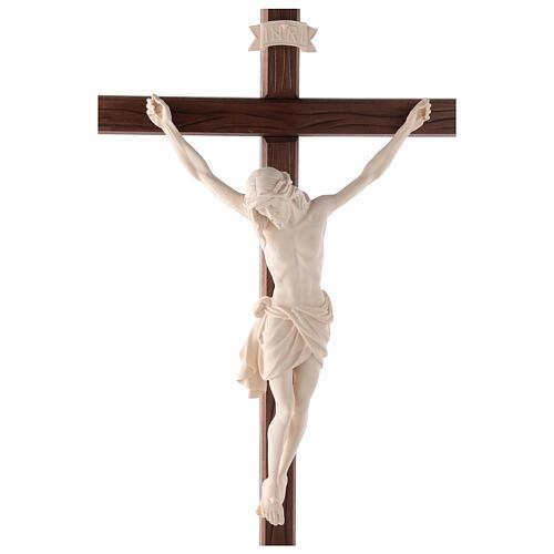 Cruz Cristo Siena de procesión con base madera natural 2