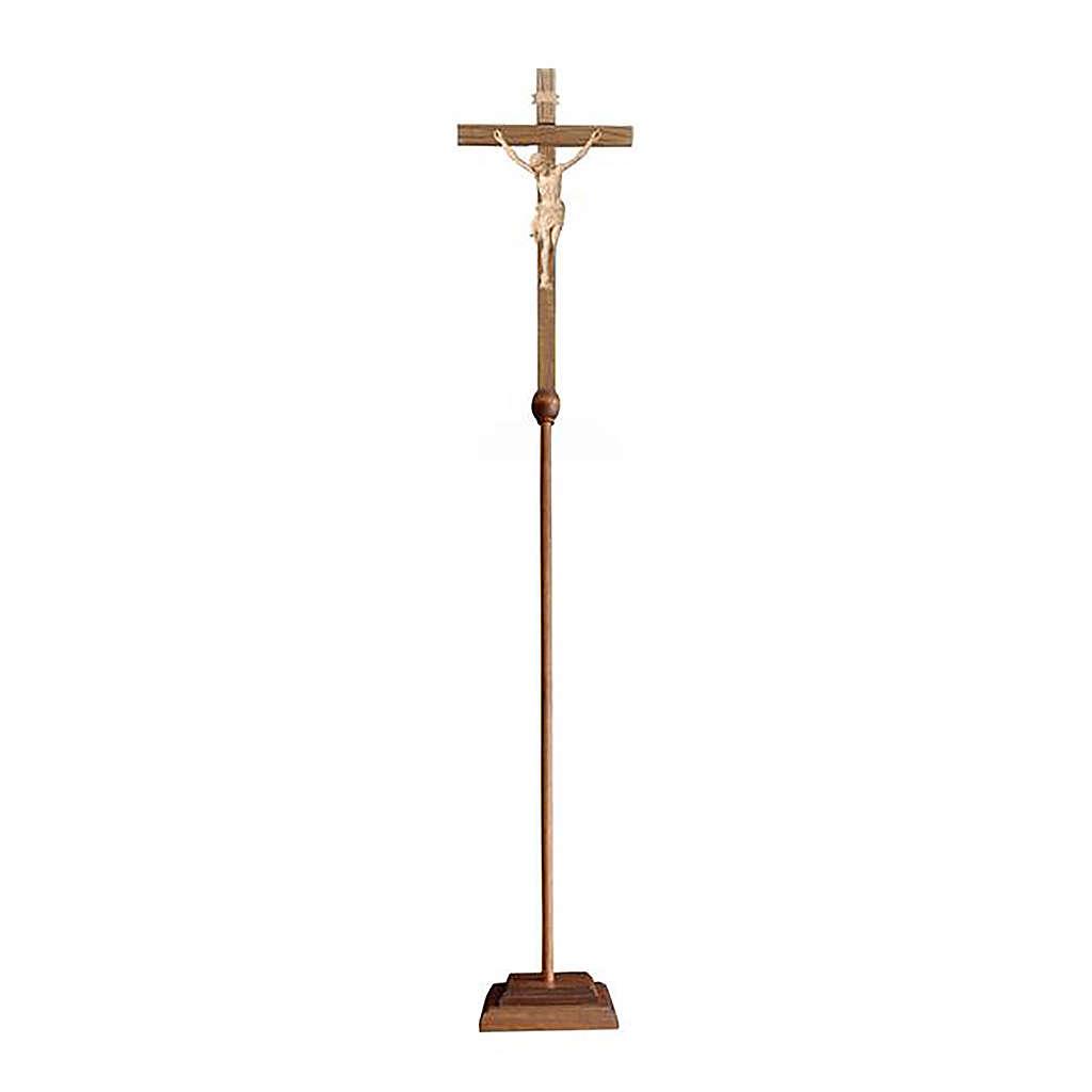 Croce Cristo Siena astile con base legno naturale 4