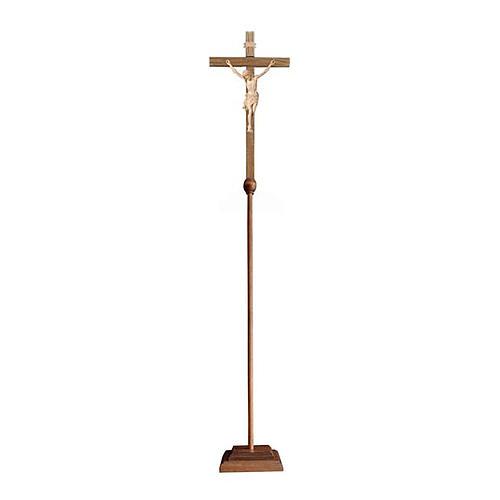 Croce Cristo Siena astile con base legno naturale 1