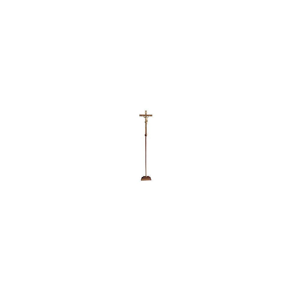 Croce astile con base Cristo Siena brunita 3 colori 4