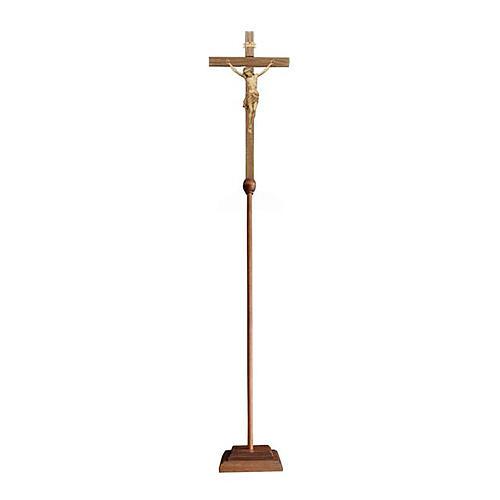 Croce astile con base Cristo Siena brunita 3 colori 1