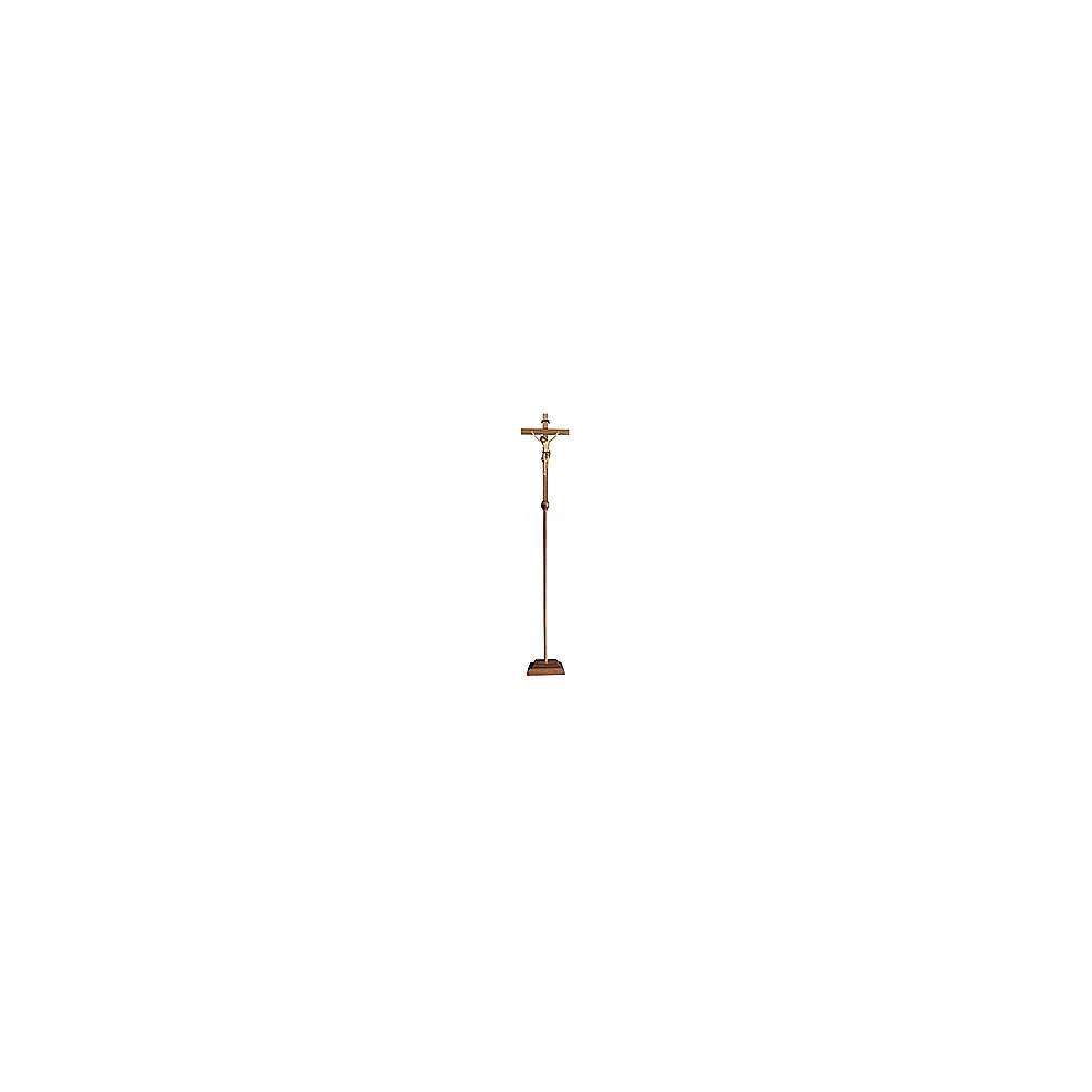 Croce astile con base Cristo Siena colorata 4
