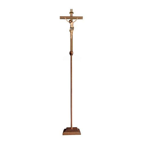 Croce astile con base Cristo Siena colorata 1