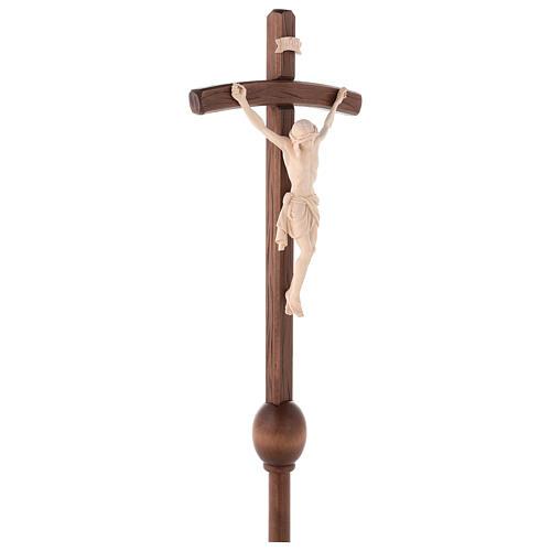Cruz Cristo Siena de procesión madera natural cruz curva 6