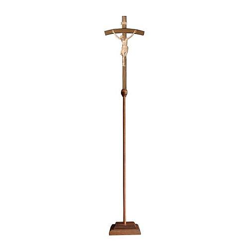 Croce Cristo Siena  astile processionale legno naturale croce curva 1