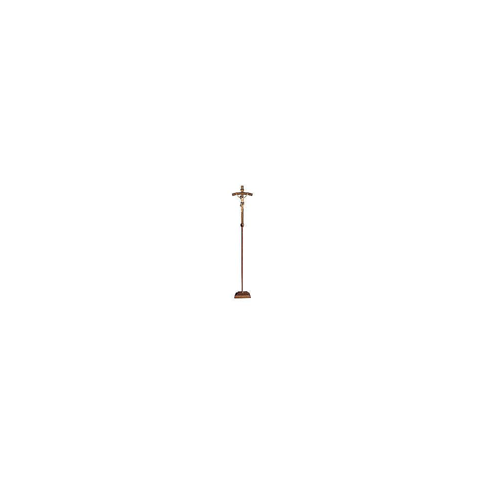 Croce astile processionale Cristo Siena  colorata croce curva 4
