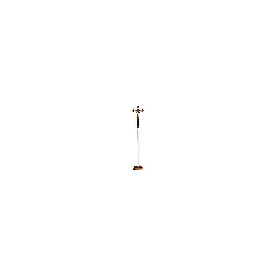 Croce astile processionale Cristo Siena  brunita 3 colori croce barocca brunita  4