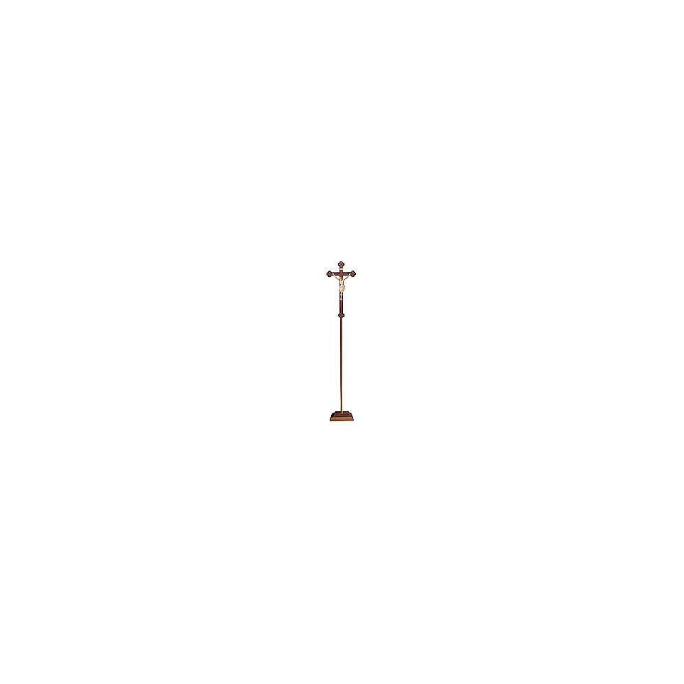 Croce Cristo Siena  astile processionale legno naturale croce barocca antica 4
