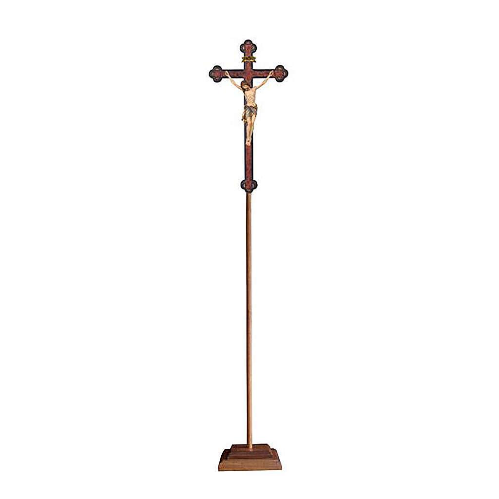 Croce astile con base  Cristo Siena  colorata croce barocca antica  4