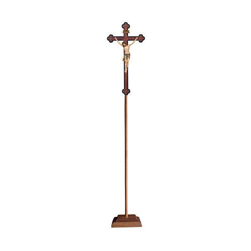 Croce astile con base  Cristo Siena  colorata croce barocca antica  1