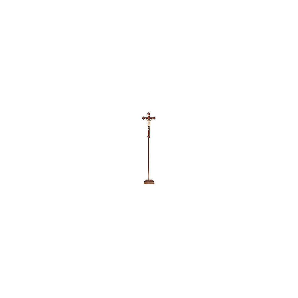 Croce Cristo Siena  astile con base  legno naturale croce barocca oro  4