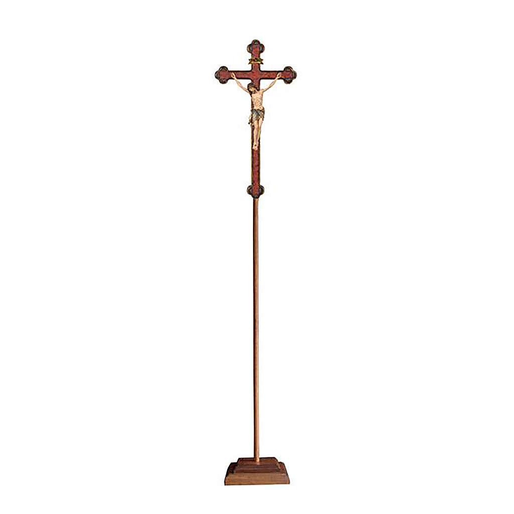 Croce astile con base  Cristo Siena  colorata croce barocca oro   4