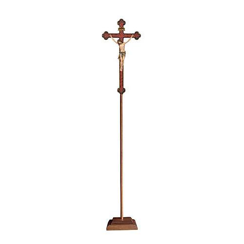 Croce astile con base  Cristo Siena  colorata croce barocca oro   1