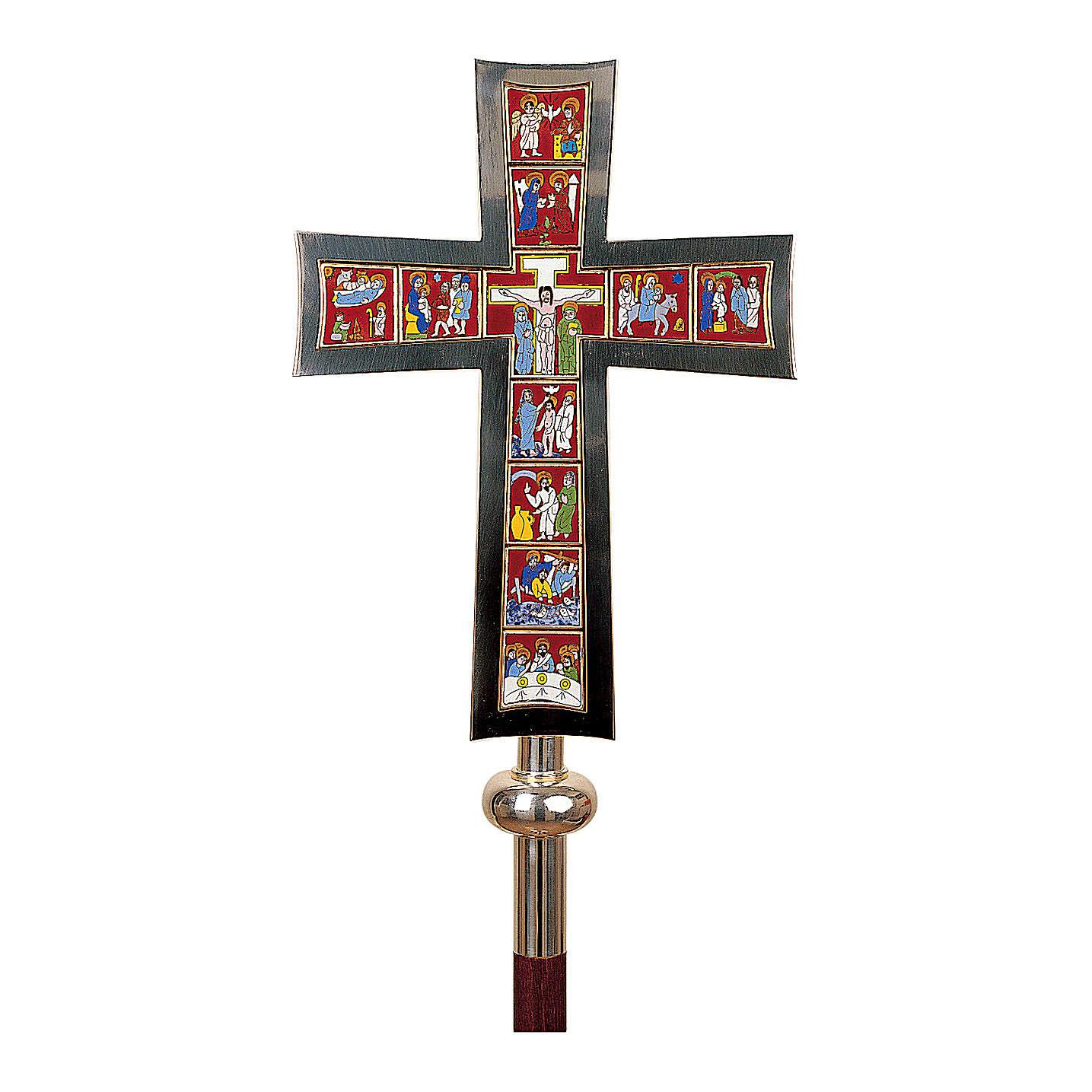 Croce Processionale Molina Vita di Cristo smaltata ottone argentato 4