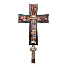 Croce Processionale Molina Vita di Cristo smaltata ottone argentato s1