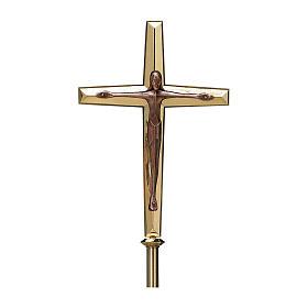 Krzyż procesyjny Molina styl nowoczesny mosiądz s1