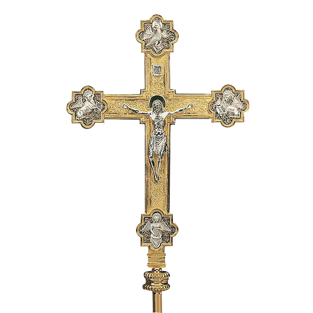 Croce astile con asta ottone dorato 4 evangelisti 4