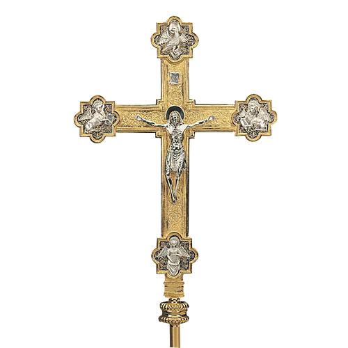Croce astile con asta ottone dorato 4 evangelisti 1