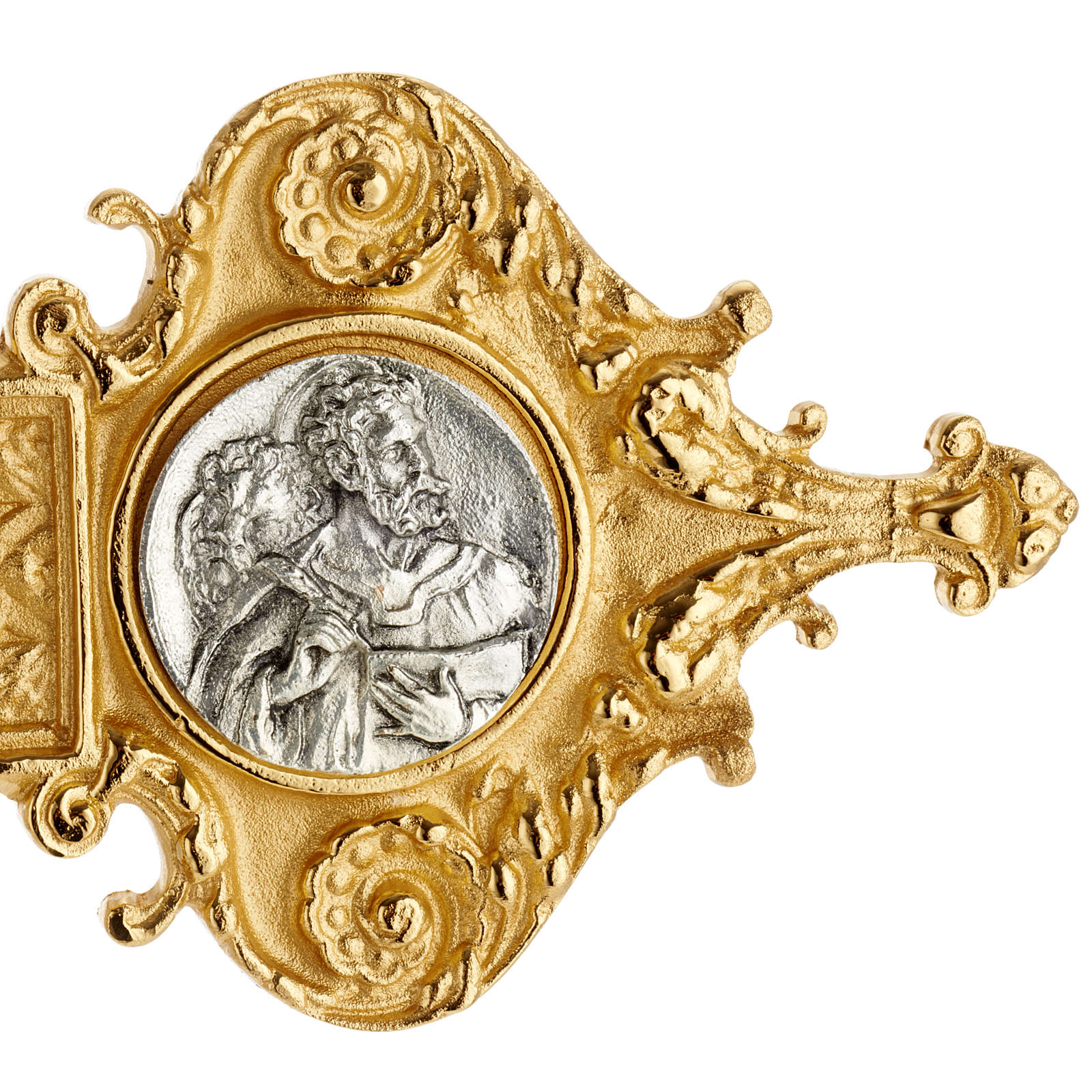 Croce astile ottone dorato fusione inserti 4 evangelisti 4