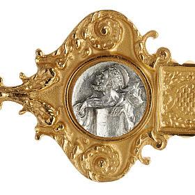 Croce astile ottone dorato fusione inserti 4 evangelisti s4