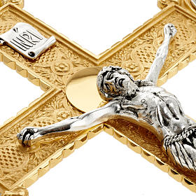 Croce astile ottone dorato fusione inserti 4 evangelisti s9