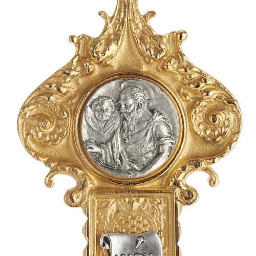 Croce astile ottone dorato fusione inserti 4 evangelisti 2