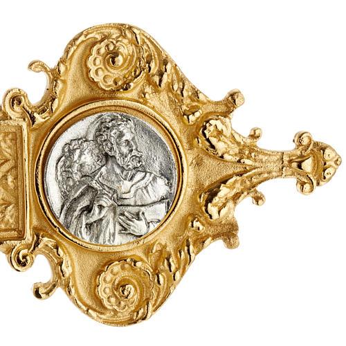 Croce astile ottone dorato fusione inserti 4 evangelisti 3
