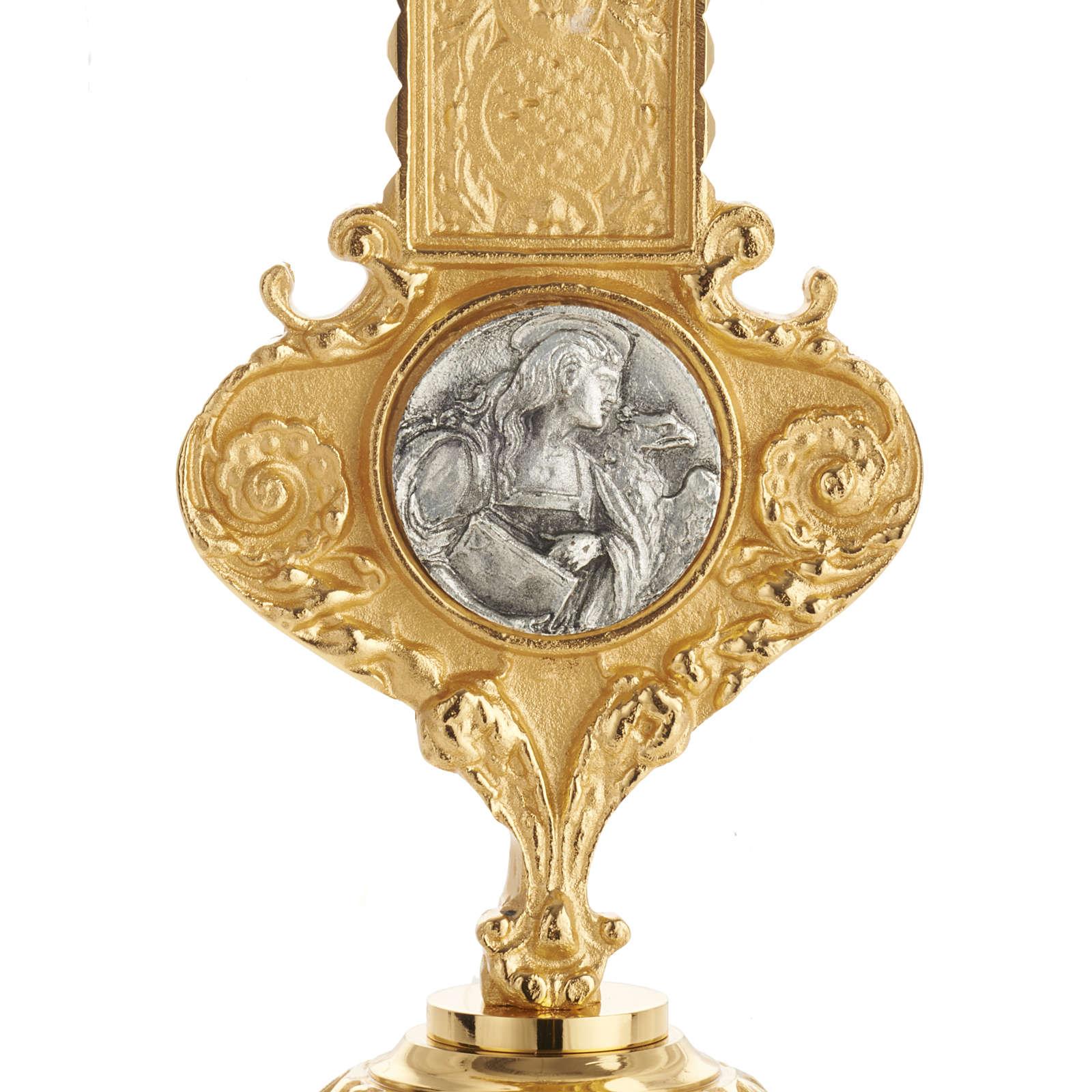 Krzyż procesyjny pozłacany mosiądz wstawki 4 ewangeli 4