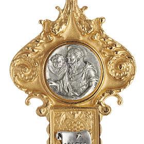 Krzyż procesyjny pozłacany mosiądz wstawki 4 ewangeli s2