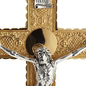 Krzyż procesyjny pozłacany mosiądz wstawki 4 ewangeli s8