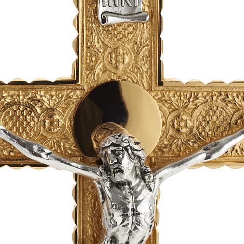 Krzyż procesyjny pozłacany mosiądz wstawki 4 ewangeli 8