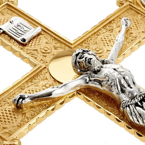 Krzyż procesyjny pozłacany mosiądz wstawki 4 ewangeli 9