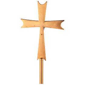Croce astile ottone dorato con cristalli s5