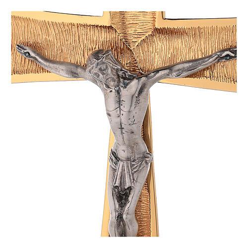 Croce astile ottone dorato con cristalli 3