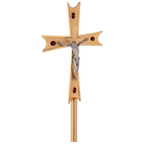 Croce astile ottone dorato con cristalli 4