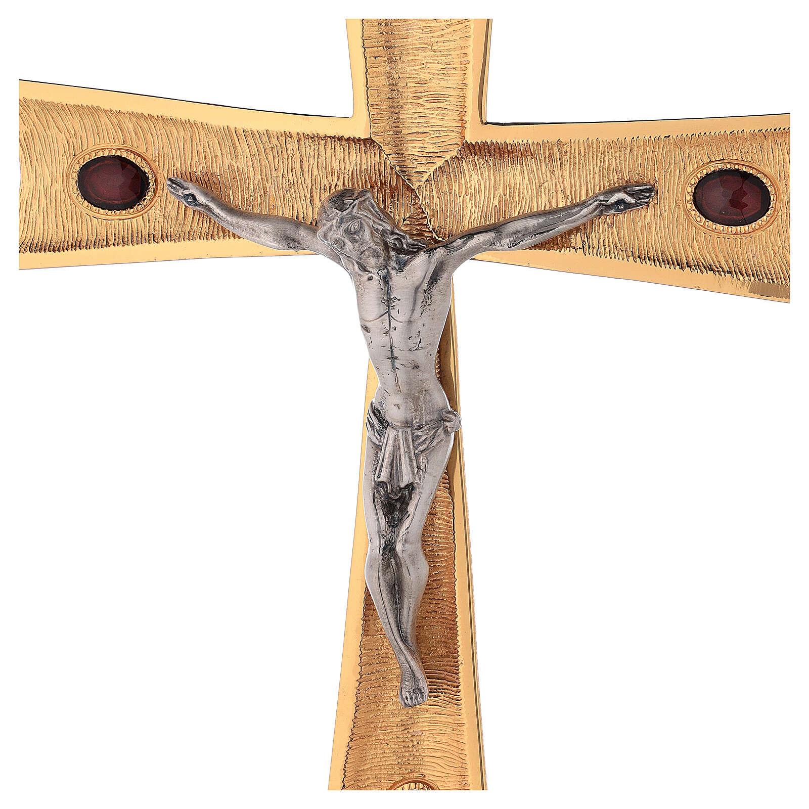 Krzyż procesyjny pozłacany mosiądz z kryształami 4