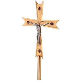 Krzyż procesyjny pozłacany mosiądz z kryształami s1