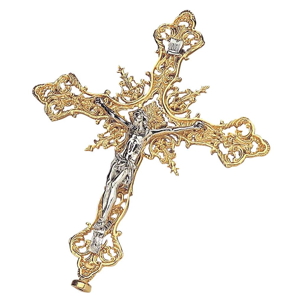 Croce astile ottone dorato e argentato in fusione con decori 4