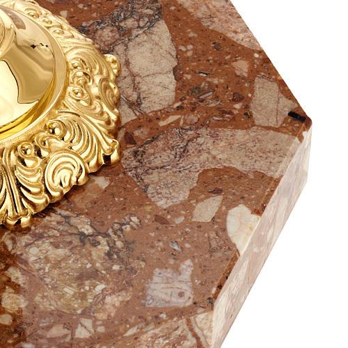 Base portacruz mármol latón decorado 3