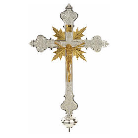 Croce astile argentata raggera corpo di Cristo dorato s1