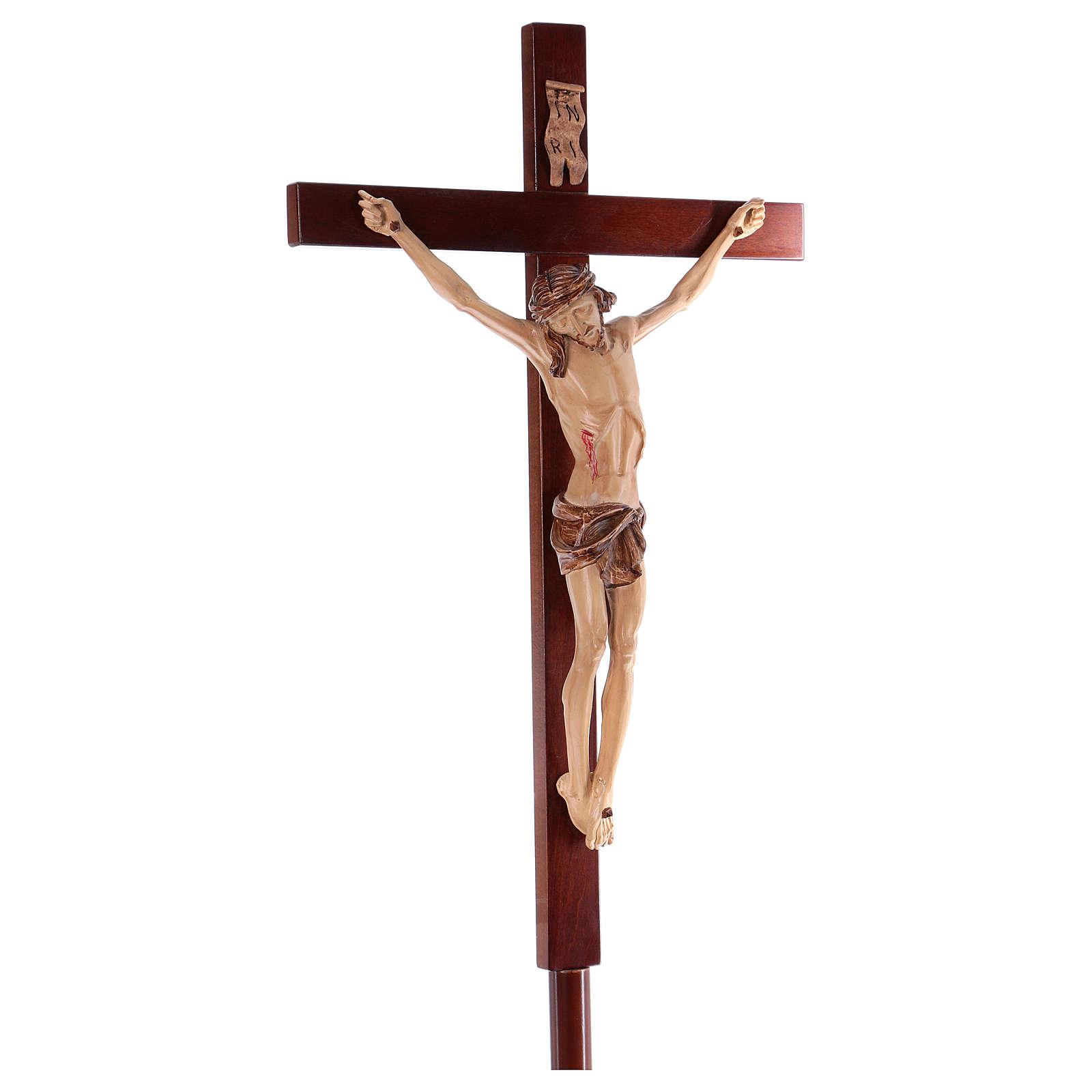 Krzyż procesyjny drewno orzech włoski 4