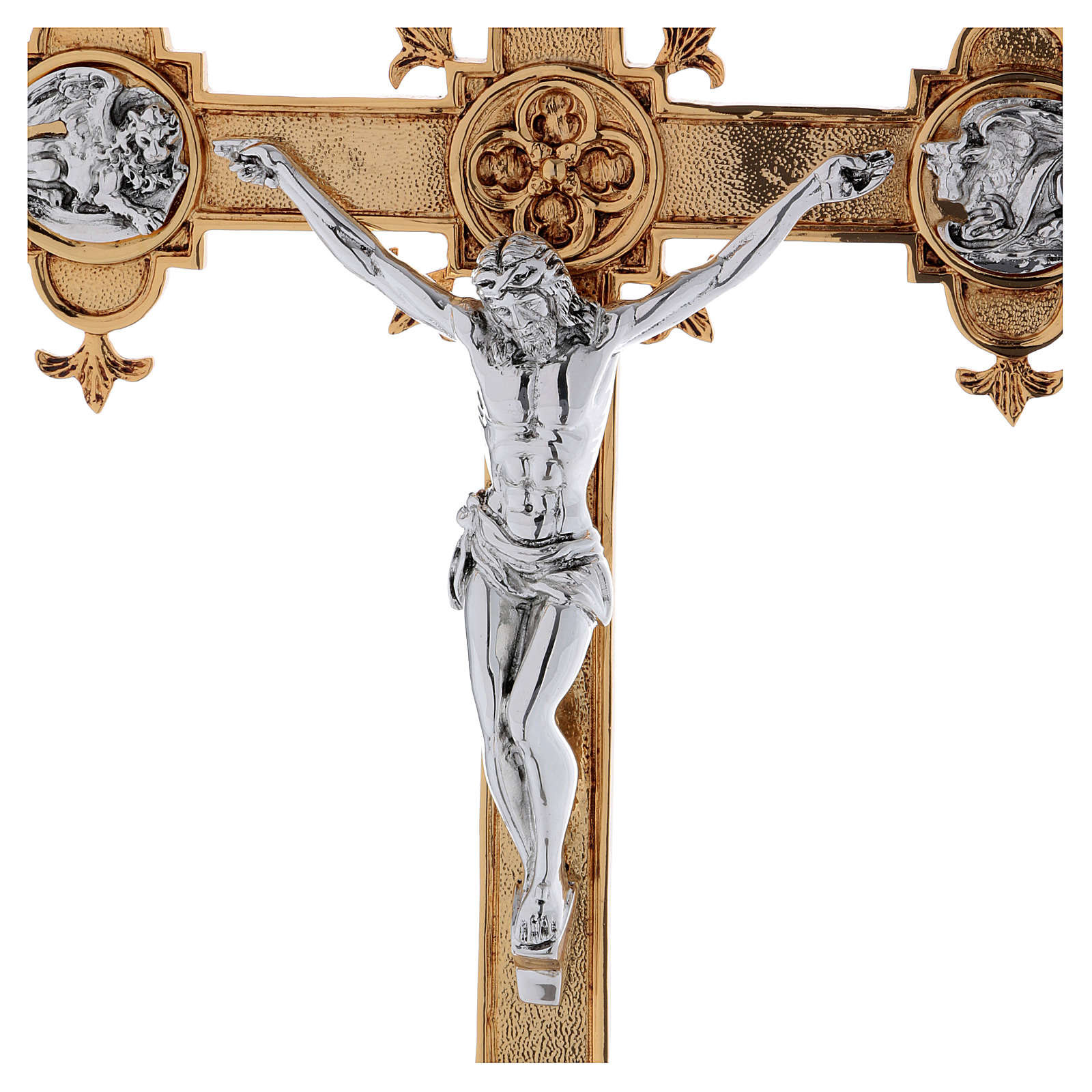 Croce astile ottone fuso 54x35 cm 4