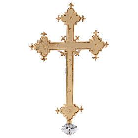 Croce astile ottone fuso 54x35 cm s5