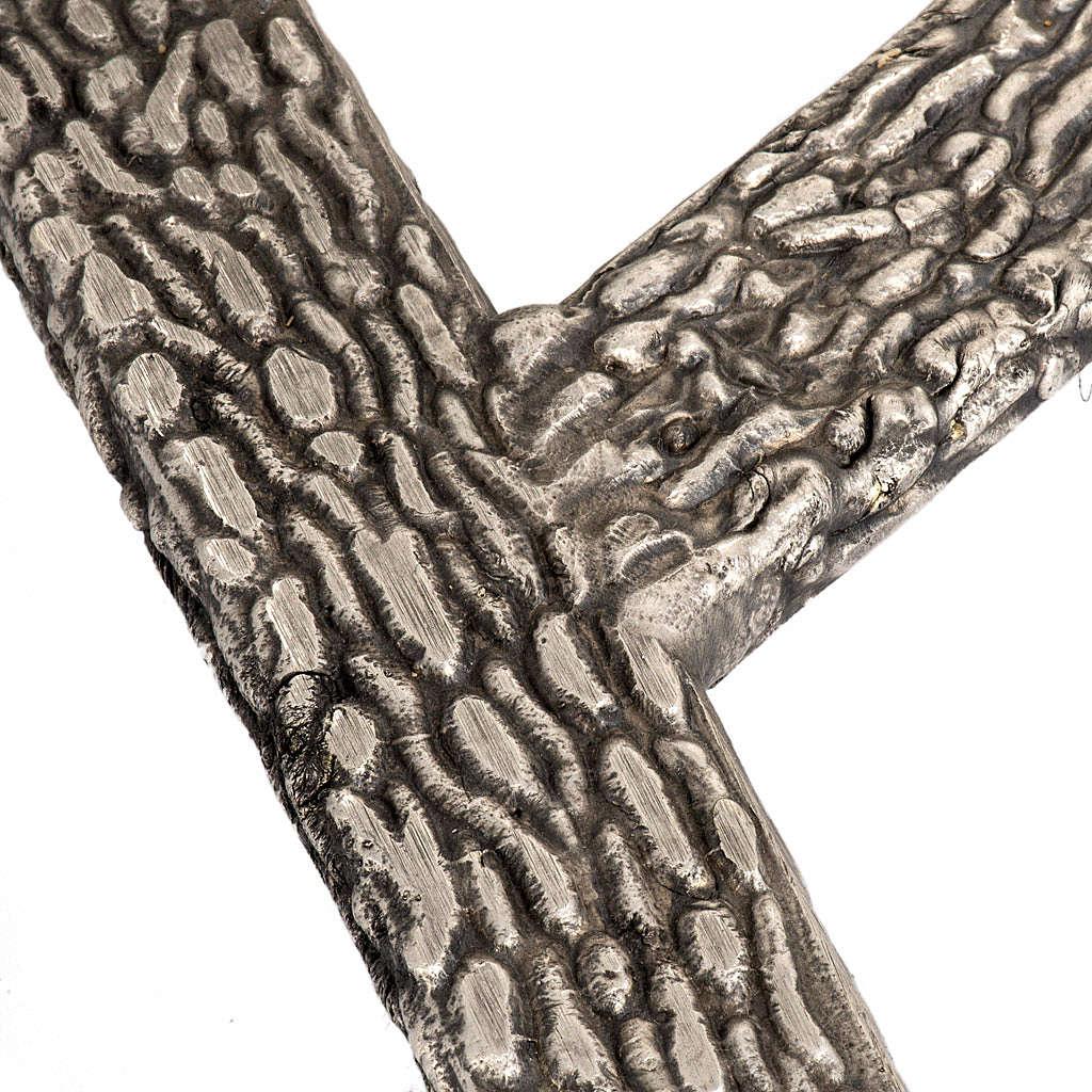Processional cross base in bronze, bark effect 4
